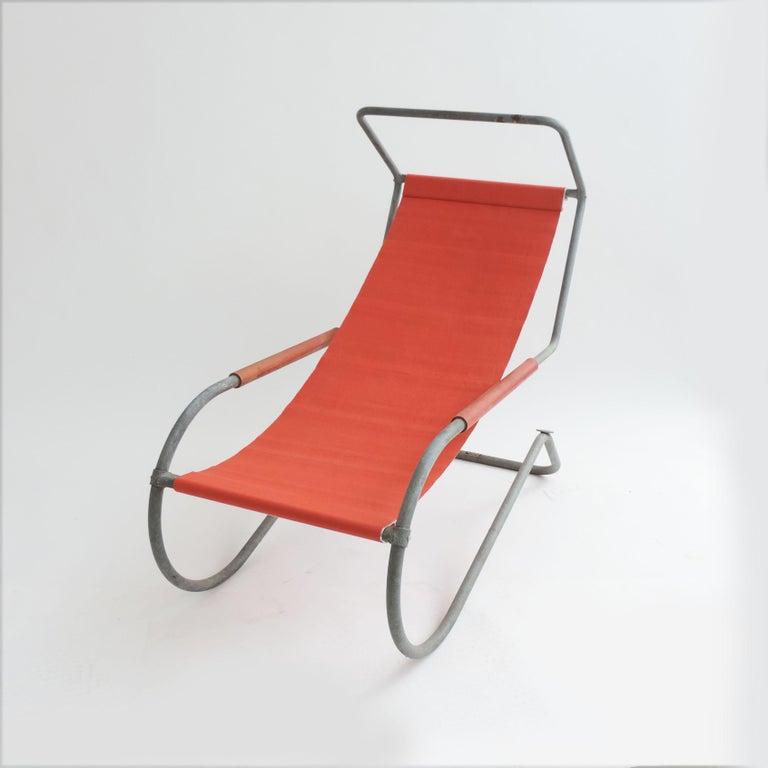 Swiss Pair of 'Lido' Lounge Chairs by Battista Giudici, Locarno, Switzerland, 1936 For Sale