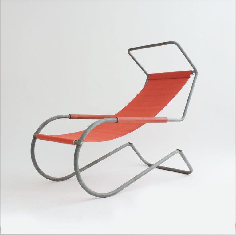 Steel Pair of 'Lido' Lounge Chairs by Battista Giudici, Locarno, Switzerland, 1936 For Sale