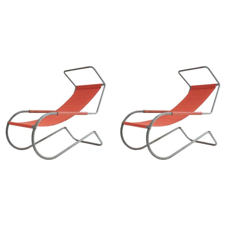 Pair of 'Lido' Lounge Chairs by Battista Giudici, Locarno, Switzerland, 1936 For Sale