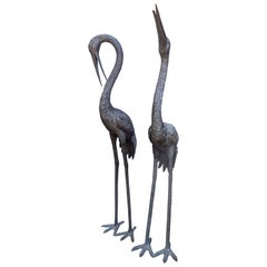 Pair of Life Size Bronze Cranes