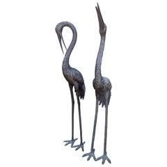 Pair of Life Size Bronze Cranes