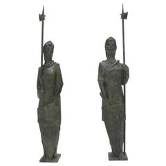 Pair of Life Size Bronze Statues Sculpture Middle Ages Knight in Armor