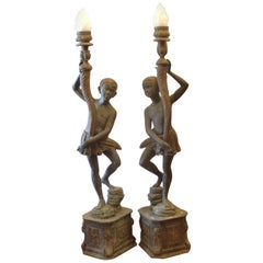Pair of Life-Size Nubian Bronze Torcheres