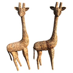 Pair of Life-Size Woven Giraffe Statues