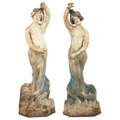 Pair of Art Nouveau Wooden Dancing Figures