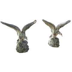 Pair of Life-Sized English Cast Stone Eagles with Outstretched Wings