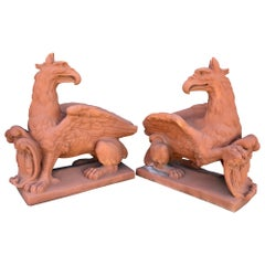 Pair of Life Sized Terracotta Gargoyles, Garden Statues