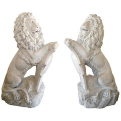 Pair of Lifesize antique marble lions after Joseph Gott