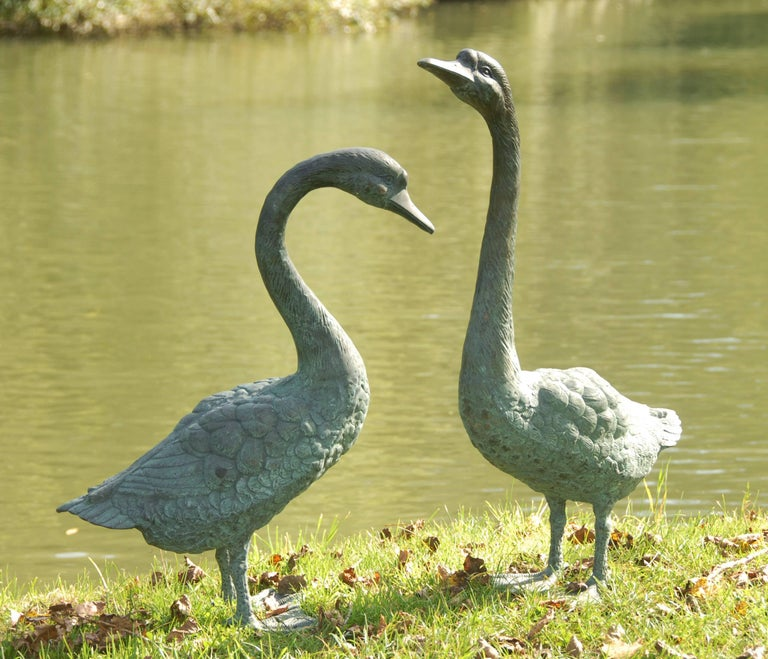 Unknown Pair of Lifesize Bronze Statues of Geese For Sale