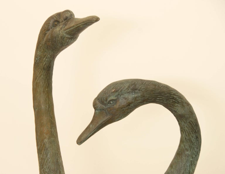 Pair of Lifesize Bronze Statues of Geese For Sale 1