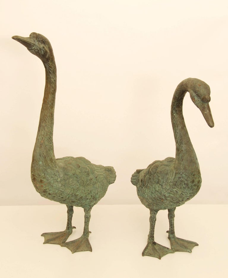 Pair of Lifesize Bronze Statues of Geese For Sale 2