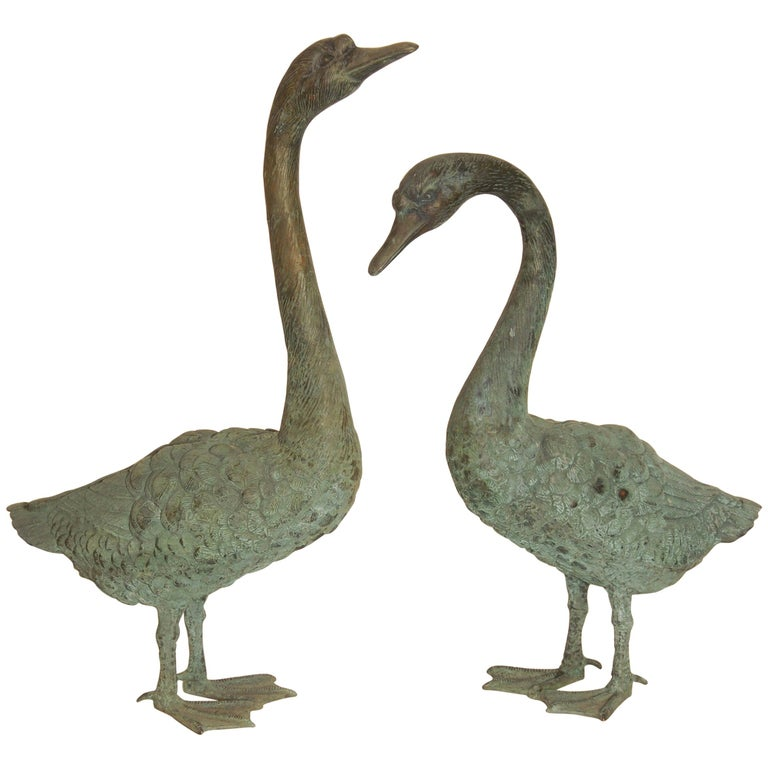 Pair of Lifesize Bronze Statues of Geese For Sale