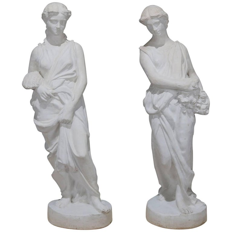 Pair of Lifesize Classical Figural Spring and Fall Composite Garden Statues