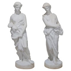 Pair of Life-Size Classical Figural Spring and Fall Composite Garden Statues