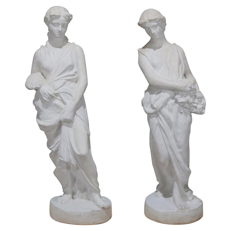 Pair of Life-Size Classical Figural Spring and Fall Composite Garden Statues For Sale
