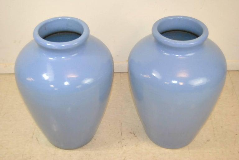 Pair Of Light Blue Ceramic Floor Vases For Sale At 1stdibs