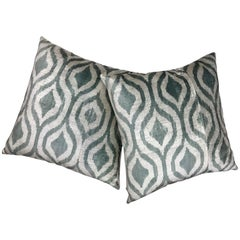 Pair of Light Blue Green Silk Ikat Pillows