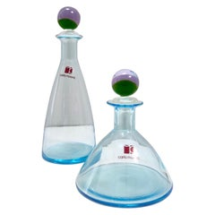 Pair of Light Blue Murano Glass Perfume Bottles by Carlo Moretti, Italy