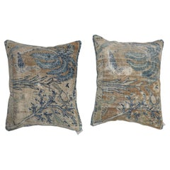 Pair of Light Brown Blue Persian Distressed Pictorial Rug Pillows