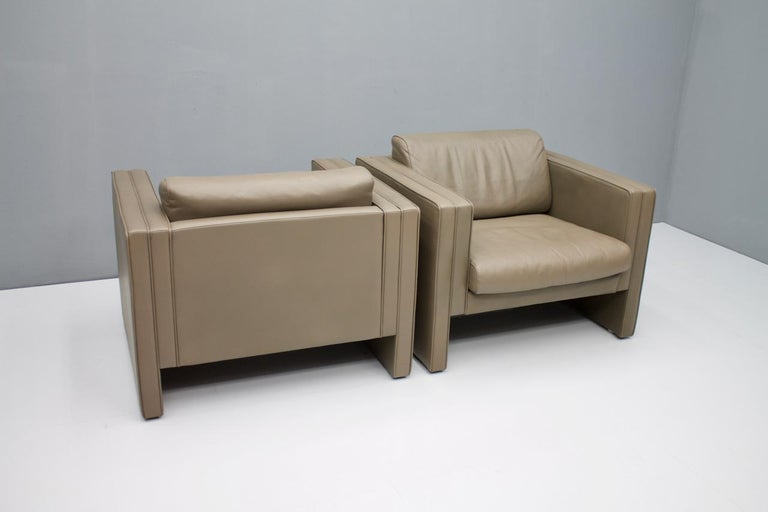 German Pair of Light Brown Leather Lounge Chairs by Walter Knoll, 1975 For Sale