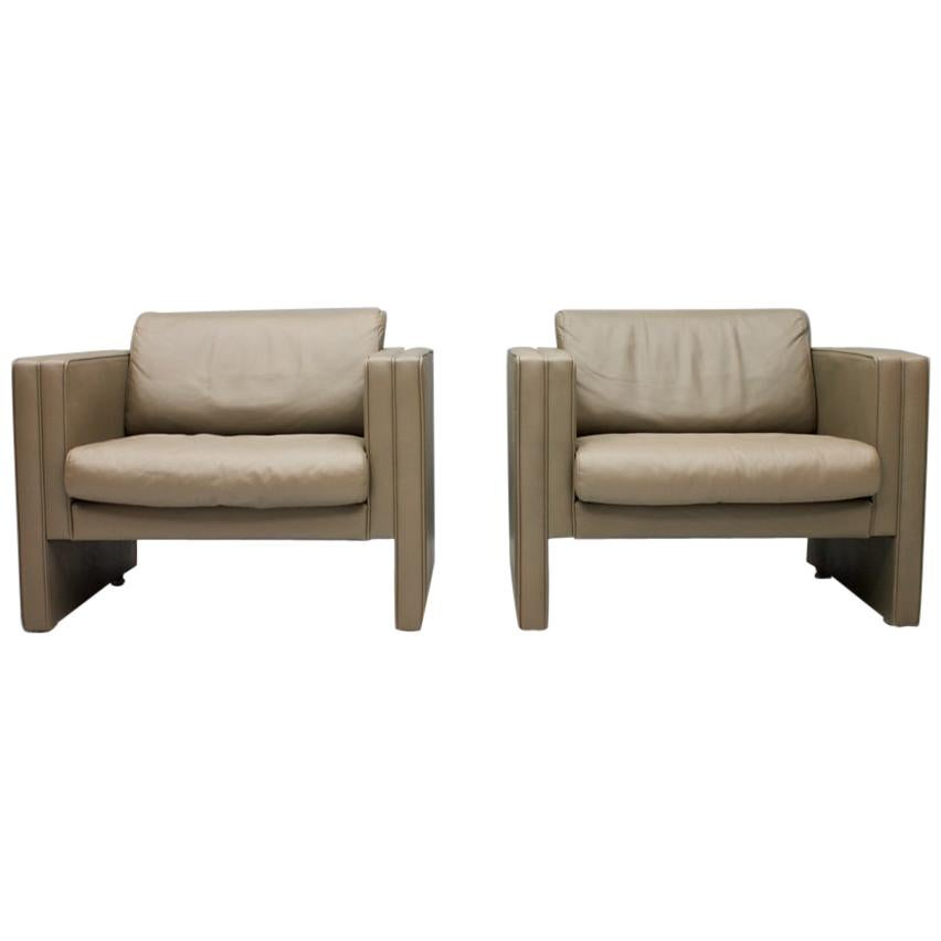 Pair of Light Brown Leather Lounge Chairs by Walter Knoll, 1975
