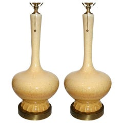 Pair of Light Cream Colored Porcelain Lamps