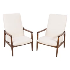 Pair of Light Crème Boucle Armchairs, GFM-64 high, Edmund Homa, 1960s