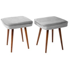 Pair of Light Gray Stools, 1960s