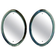 Pair of Light Green Cristal Arte Mirrors, 1960s