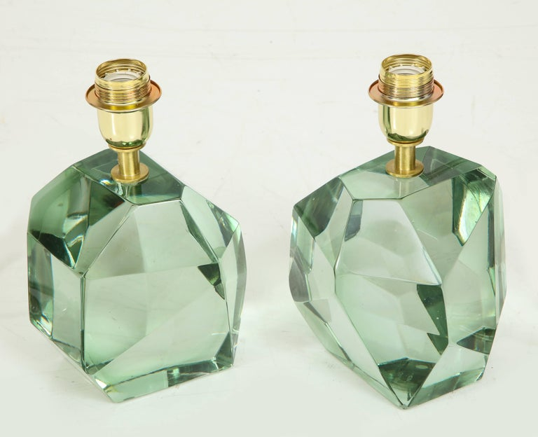 Italian Pair of Light Green Faceted Lamps, Italy, Signed For Sale