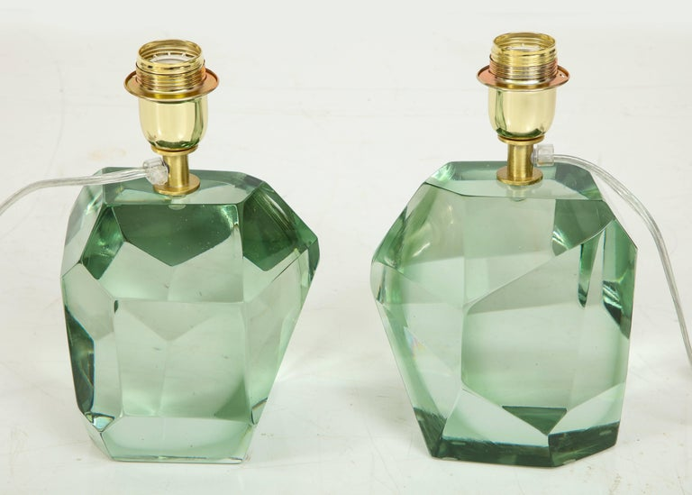 Hand-Crafted Pair of Light Green Faceted Lamps, Italy, Signed For Sale