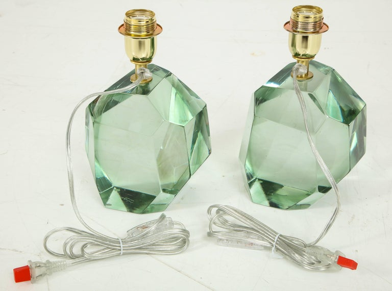 Pair of Light Green Faceted Lamps, Italy, Signed In Excellent Condition For Sale In New York, NY