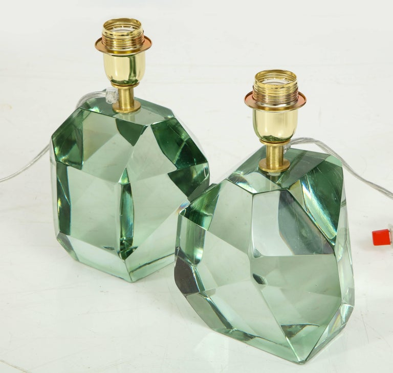 Murano Glass Pair of Light Green Faceted Lamps, Italy, Signed For Sale