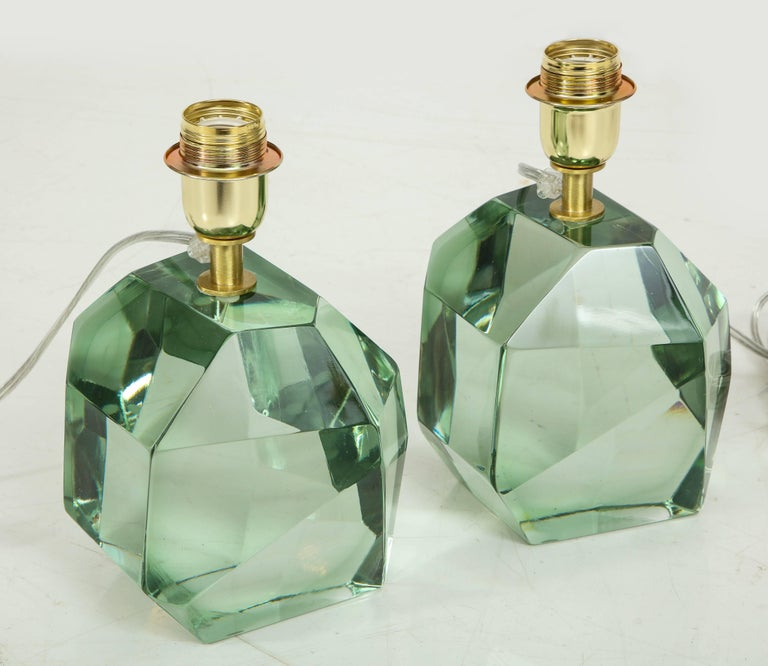 Pair of Light Green Faceted Lamps, Italy, Signed For Sale 1