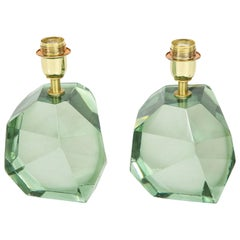 Pair of Light Green Faceted Lamps, Italy, Signed