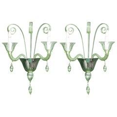 Pair of Light Green Murano Glass and Chrome Sconces, Italy
