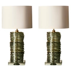Pair of Light Green Stretched Murano Glass Table Lamps