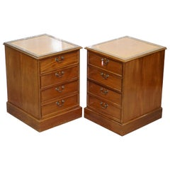 Pair of Light Mahogany Partner Filing Cabinets Brown Chesterfield Leather Tops