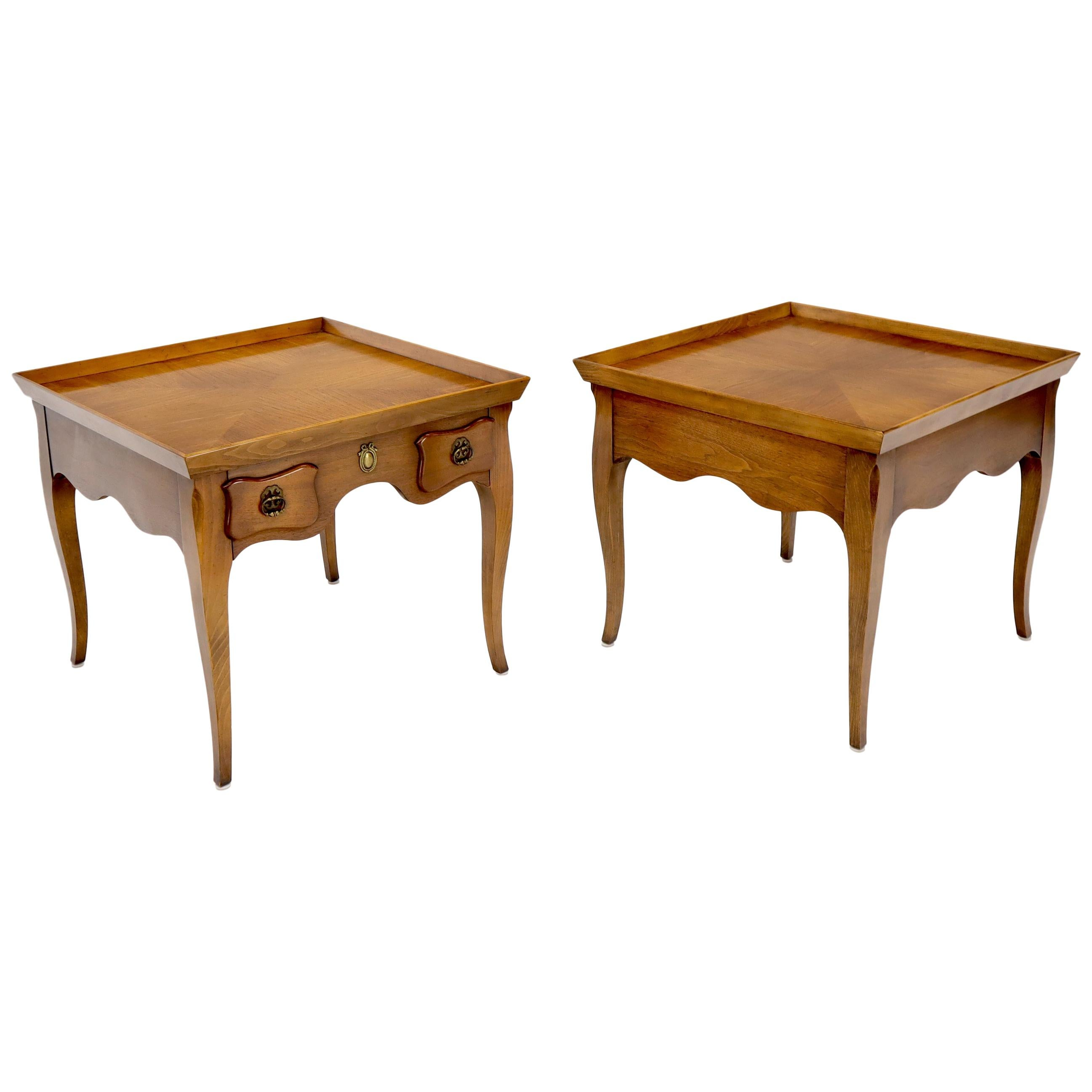 Pair of Light Walnut Cabriole Leg End Side Tables by Baker