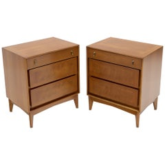 Pair of Light Walnut Mid-Century Modern Three-Drawer End Side Bed Tables