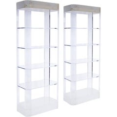 Pair of Lighted Lucite Etageres