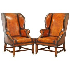 Pair of Lightly Restored George III circa 1780 Wingback Brown Leather Armchairs