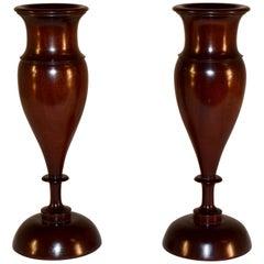 Pair of Lignum Vitae Vases, circa 1900