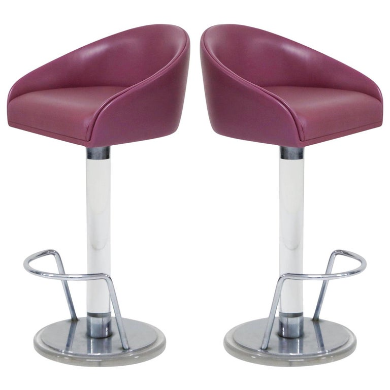 Pair of Lilac Leather and Lucite Swivel Barstools by Lion in Frost, Signed For Sale