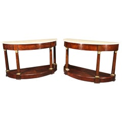 Pair of Lillian August Faux marble Painted Empire Style Demilune Console Tables