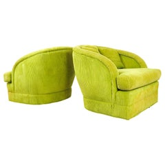 Pair of Lime Green Club Chairs on Casters