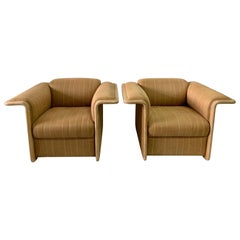 Pair of Lime-Wood Bleached Armchairs