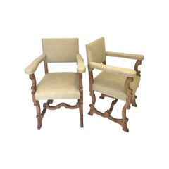 Pair of Limed Oak Scottish Arts & Crafts Chairs