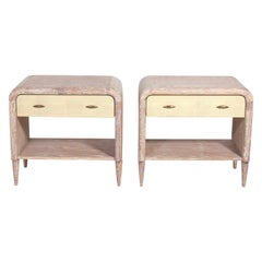 Pair of Limed Wood and Faux Shagreen Nightstands