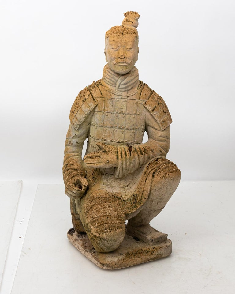 Pair of Limestone Japanese Warrior Statues In Good Condition For Sale In Stamford, CT